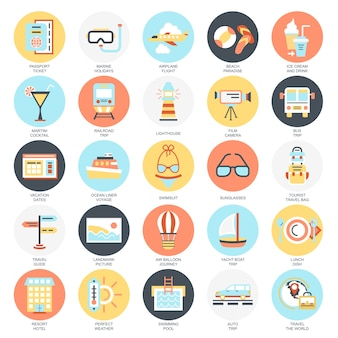 Flat conceptual icons pack of tourism recreation, travel vacation to resort hotel.