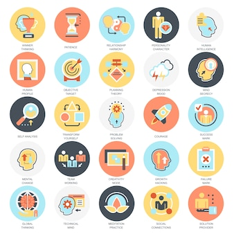 Flat conceptual icons pack of various mental features of human brain.