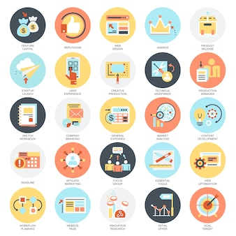 Flat conceptual icons set of business startup, market vision, development and mission.
