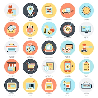 Flat conceptual icons set of e-commerce, internet shopping, retail store and online sales.