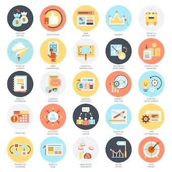사업 시작, 시장 비전, 개발 및 미션의 평면 개념 아이콘 세트.