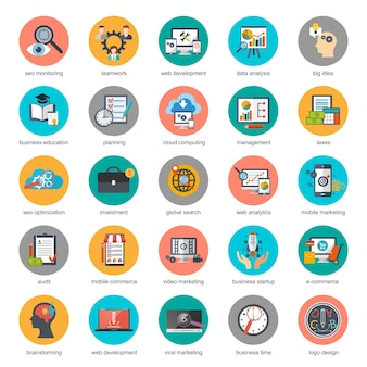 Flat conceptual icons set of seo monitoring and digital marketing, creative process