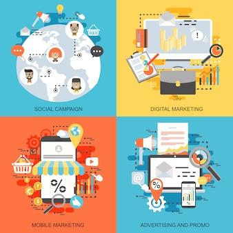 Плоские концептуальные иконки набор социальной кампании, цифровой маркетинг, мобильный маркетинг.