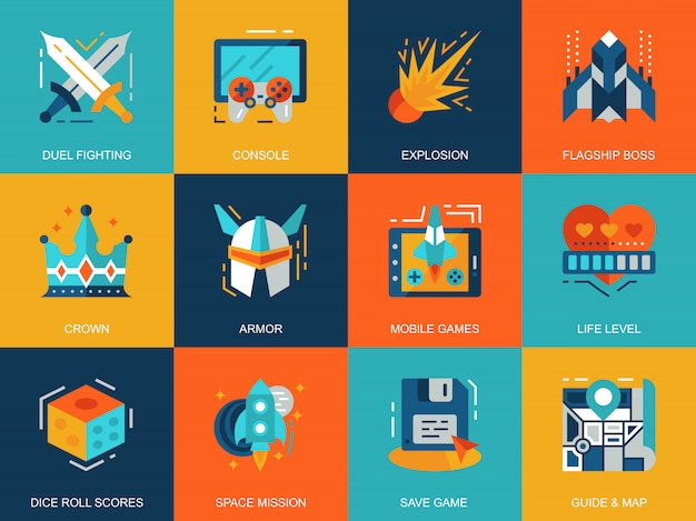 Flat conceptual leisure mobile gaming icons concepts set