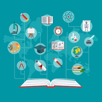 Flat conceptual open book with education icons connected by dashed lines  illustration. education and knowledge infographics concept. graduation certificate, science, art and school objects.