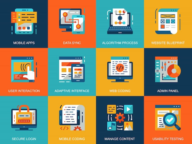 Flat conceptual web development icons concepts set