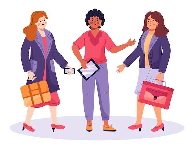 플랫 자신감 여성 기업가 그림