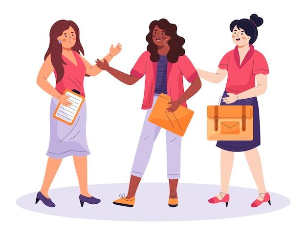 Flat confident female entrepreneurs illustration