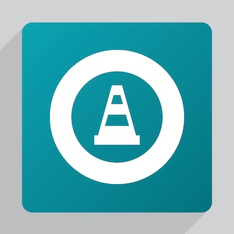 Flat construction cone icon, white on green background