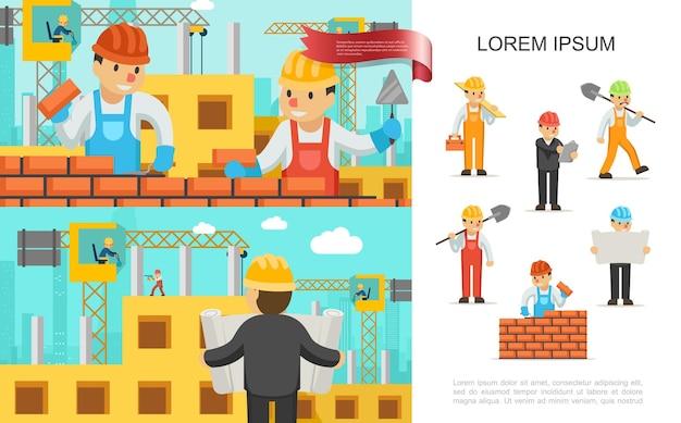 ビルダーとフラット建設業界のカラフルなコンセプトは、建設クレーンのイラストに取り組んでいるレンガの壁のエンジニアの人々を構築します