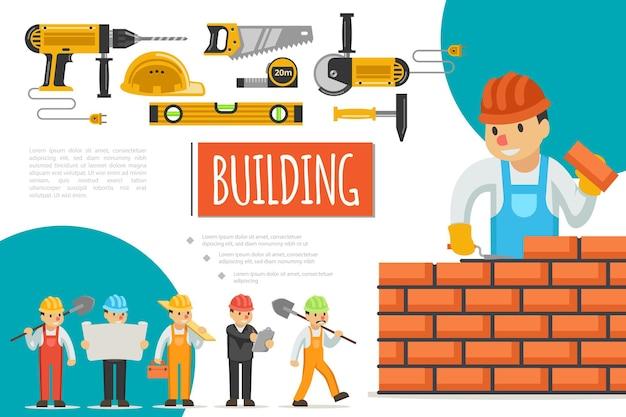 Composizione piana nel settore delle costruzioni con ingegneri costruttori trapano circolare motosega casco misura nastro righello martello sega illustrazione