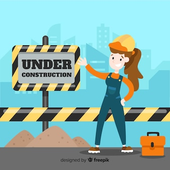 Flat under construction sign background with laborer