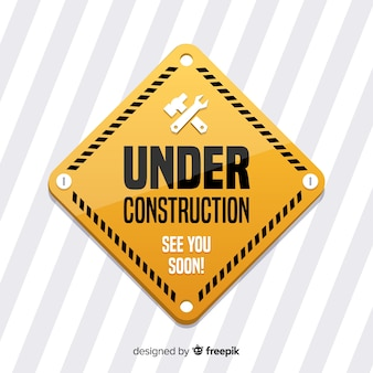 Flat under construction sign background