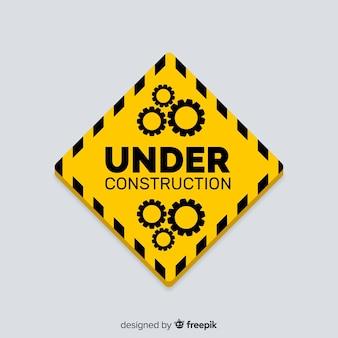 Flat under construction sign background