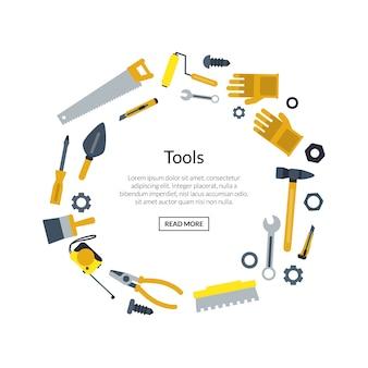 Плоские строительные инструменты в форме круга с местом для текста