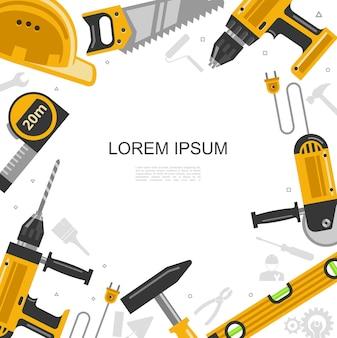 Плоский шаблон строительных инструментов с местом для строительного шлема текста, пилка, уровень сверла, молоток, мера, рулетка, иллюстрация