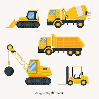 Flat construction trucks collectio