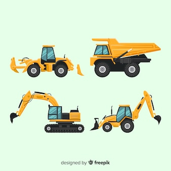 Flat construction trucks collection