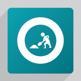 Flat construction works icon, white on green background