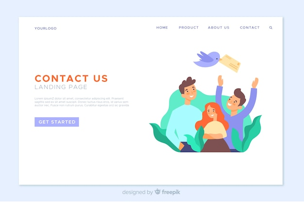 Flat contact landing page template
