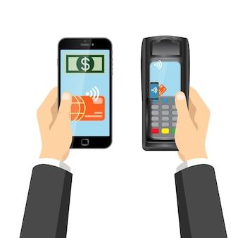 Плоские бесконтактные emv rfid оплаты кредитной карты pos терминал векторные иллюстрации