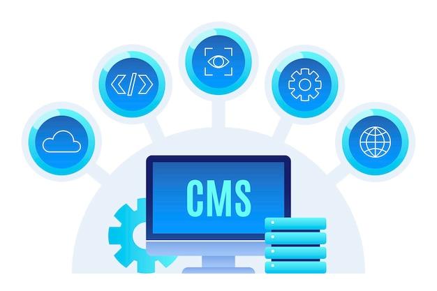 Sistema di gestione dei contenuti piatto illustrato