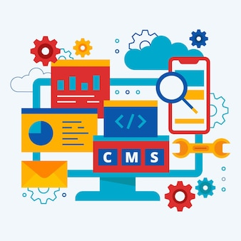 Flat content management system illustration