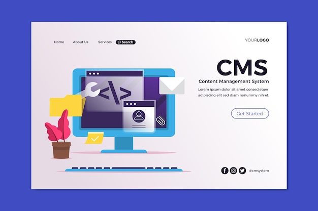 Flat content management system landing page template