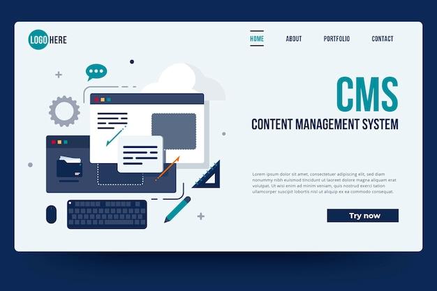 Flat content management system landing page