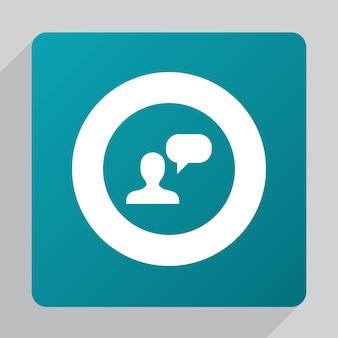 Flat conversation icon, white on green background