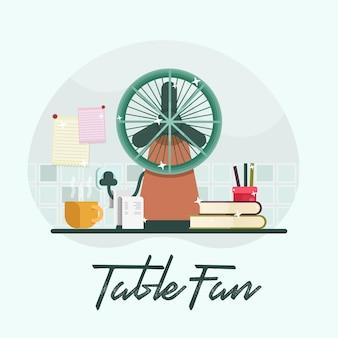 Flat cooling table fan in room