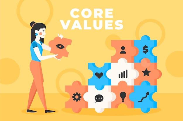 Flat core values background