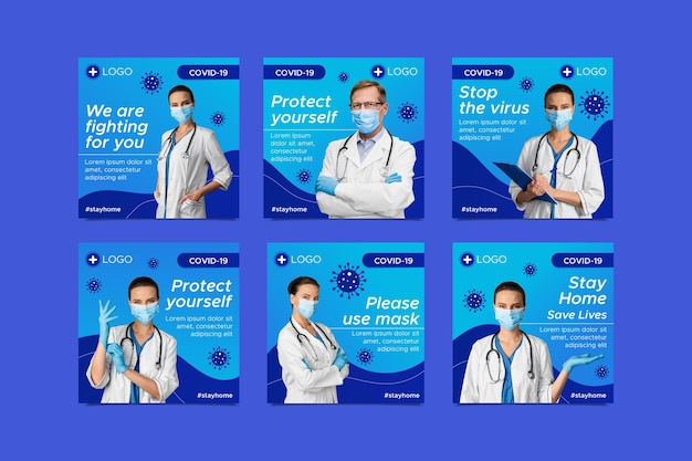 フラットコロナウイルスインスタグラムポストコレクション