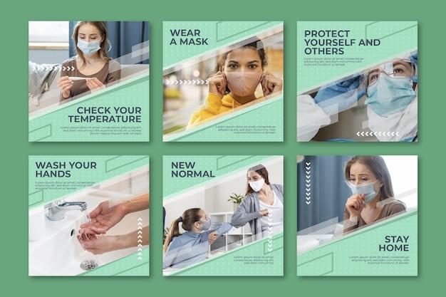 Пакет сообщений instagram с плоским коронавирусом