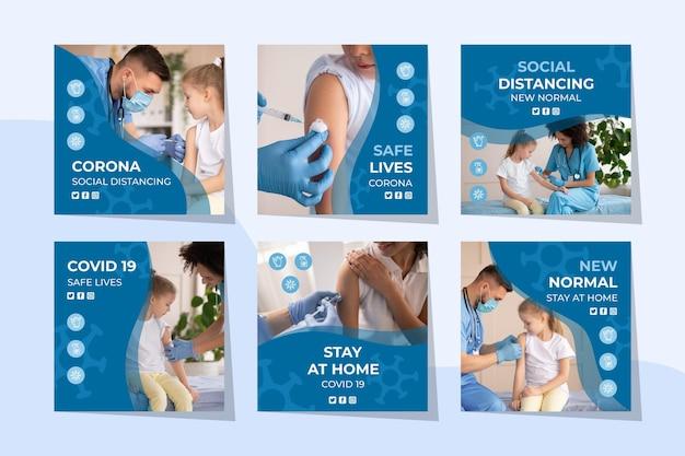Set di post instagram piatto coronavirus
