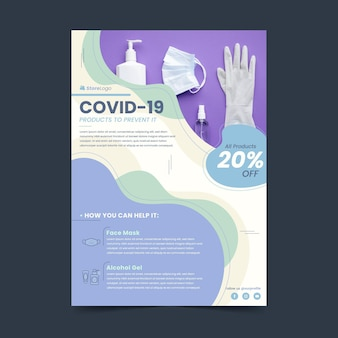 Flat coronavirus medical products flyer template with photo