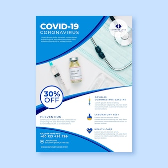 Flat coronavirus medical products poster template with photo