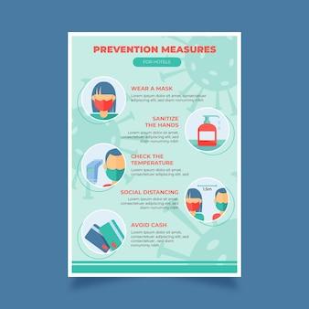 Плоский плакат по профилактике коронавируса для отелей