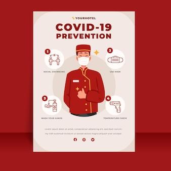Poster piatto di prevenzione del coronavirus per hotel