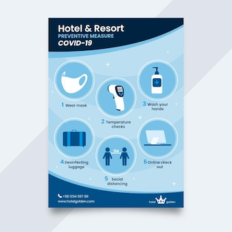 Flat coronavirus prevention poster for hotels