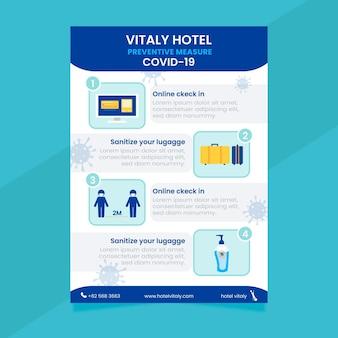 ホテルのフラットコロナウイルス予防ポスターテンプレート