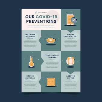 Modello di poster per la prevenzione del coronavirus piatto per hotel