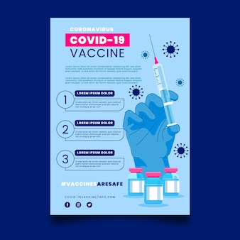Flat coronavirus vaccination flyer template
