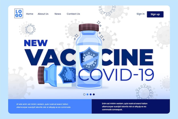 플랫 코로나 바이러스 백신 웹 템플릿 일러스트