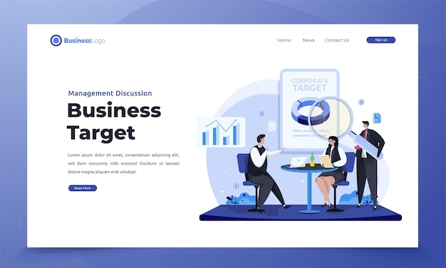 Flat corporate business target discussion on landing page