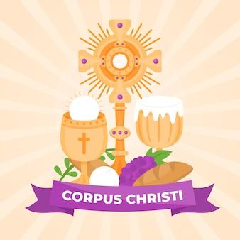 Illustrazione di corpus christi piatto