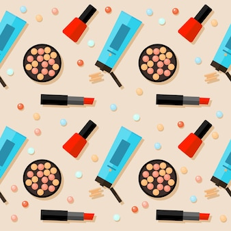 Flat cosmetic seamless pattern background. bright cosmetic product isolated on beige cover. cosmetic and beauty concept theme. abstract cartoon cosmetic elements for use in design.