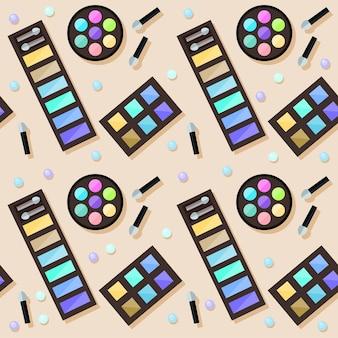 平らな化粧品のシームレスなパターンの背景。ベージュのカバーで隔離された明るい化粧品。化粧品と美容のコンセプトテーマ。デザインで使用するための抽象的な漫画の化粧品の要素。