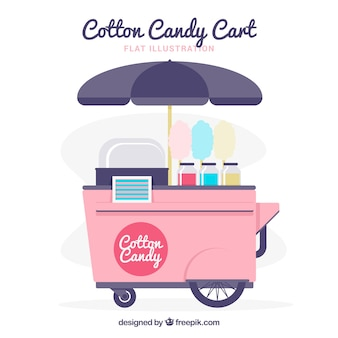 Flat cotton candy cart with umbrella