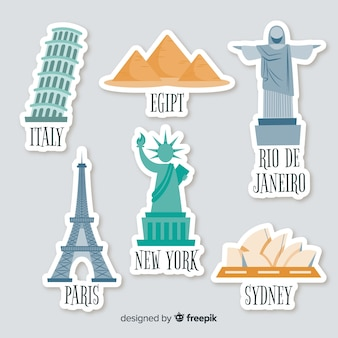 Flat country stickers set